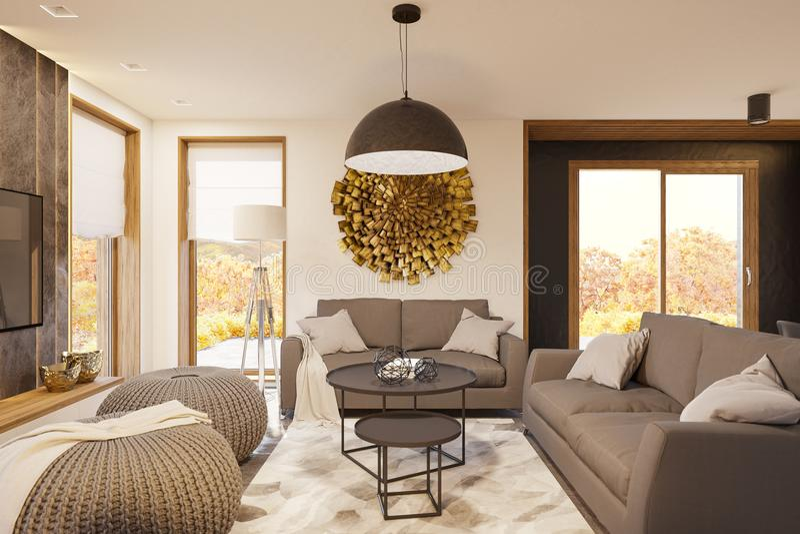 3d rendono l'interior design moderno del salone con le grandi finestre panoramiche royalty illustrazione gratis