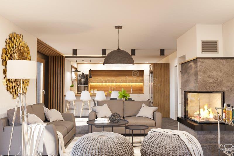 3d rendono l'interior design moderno della cucina e del salone con il camino royalty illustrazione gratis