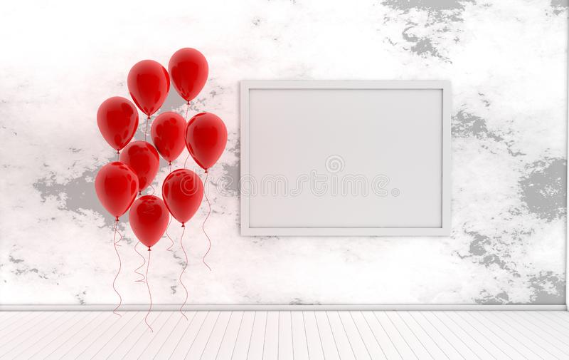 3d rendono l'interno con i palloni rossi realistici, deridono sul manifesto nella stanza Spazio vuoto per il partito, insegne soc illustrazione di stock