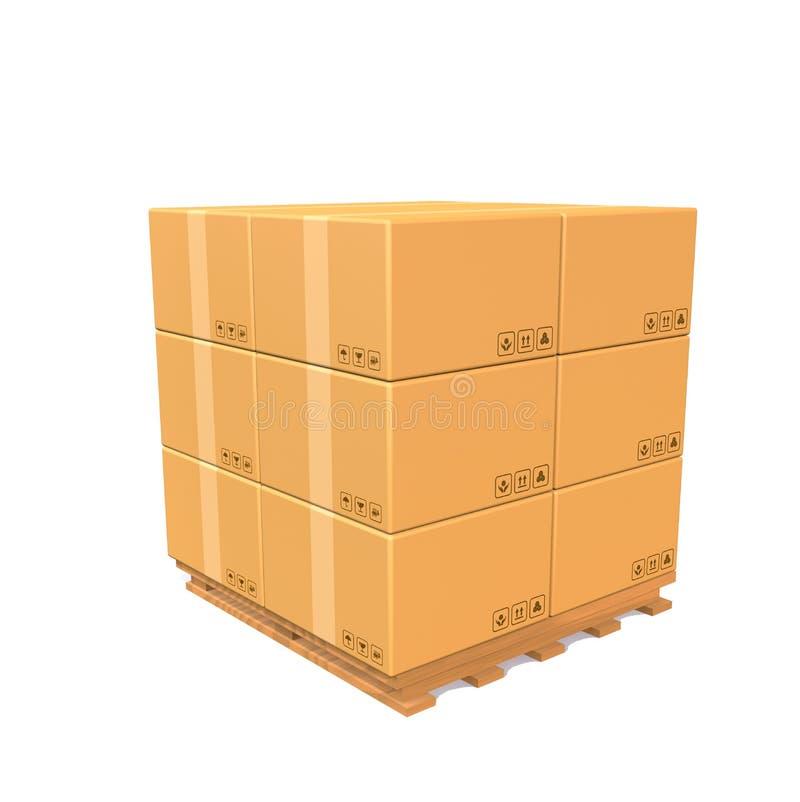 3D rendono la pila del carico della scatola di carta della carta di Brown sul pallet di legno contro fondo bianco royalty illustrazione gratis