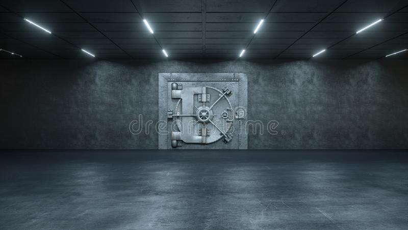 3d rendono la porta della volta nella Banca illustrazione vettoriale