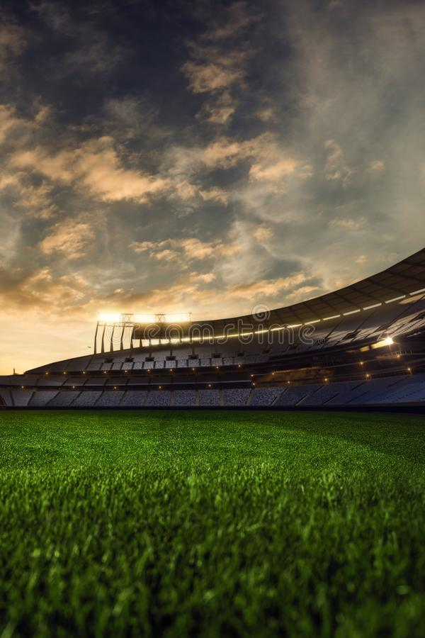 3d rendono la sera emptry dello stadio immagini stock