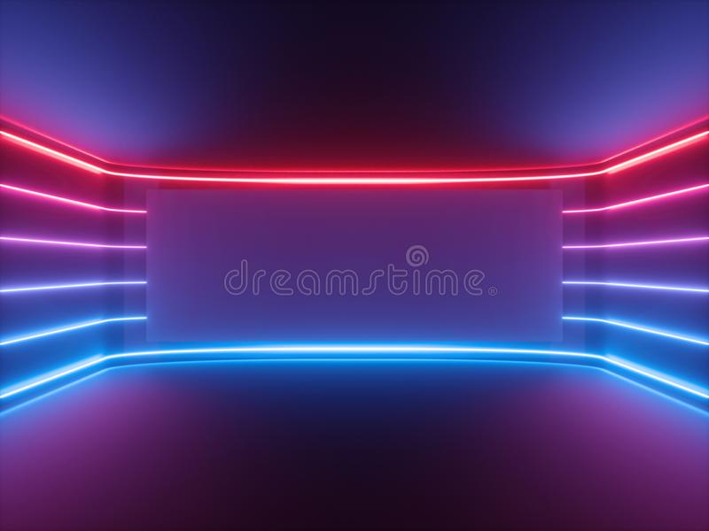 3d rendono, luce al neon blu rossa, linee d'ardore, schermo orizzontale in bianco, spettro ultravioletto, stanza vuota, fondo ast fotografie stock libere da diritti
