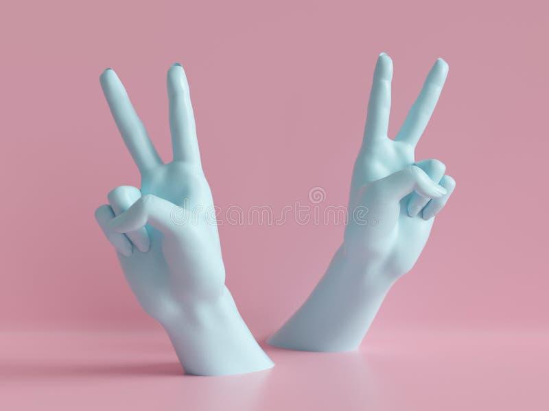 3d rendono, mani femminili isolate, gesto della roccia del partito, segno di vittoria, esposizione del negozio, fondo minimo di m illustrazione vettoriale