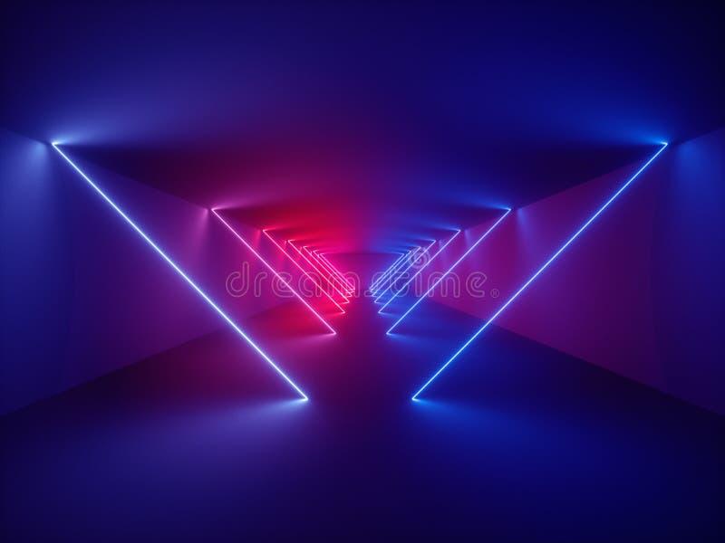 3d rendono, manifestazione del laser, luci interne del night-club, linee d'ardore, fondo fluorescente astratto, corridoio illustrazione di stock