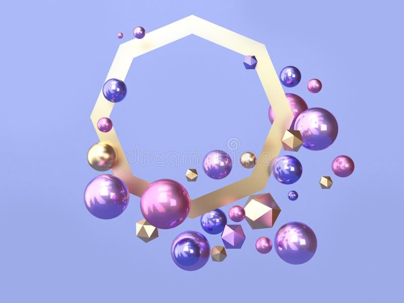 3d rendono molta scena blu della sfera/porpora rosa di levitazione di forma dell'estratto della struttura dell'oro illustrazione di stock
