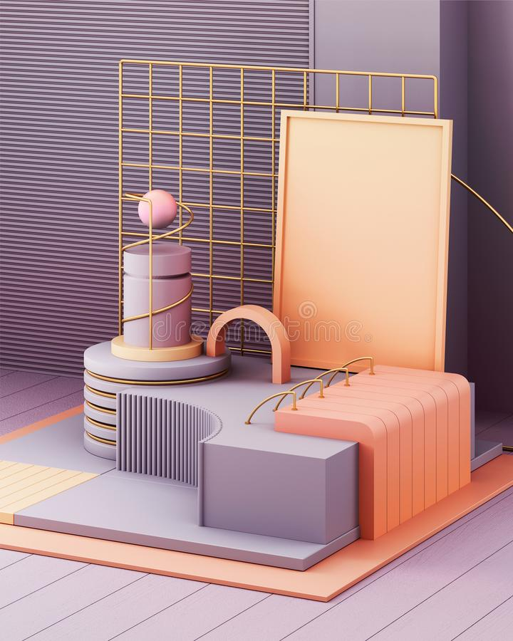 3d rendono nello stile astratto su fondo variopinto Struttura futuristica d'avanguardia di tecnologia Progettazione minima royalty illustrazione gratis
