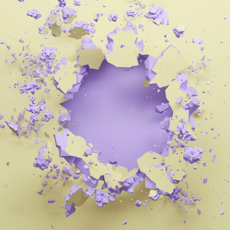 3d rendono, parete rotta della viola gialla pastello, fondo astratto di modo, spazio per testo, esplosione, foro di pallottola illustrazione di stock