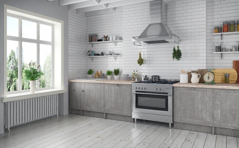 3d rendono - piano scandinavo - la cucina illustrazione di stock