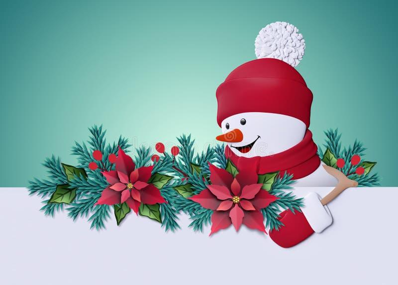 3d rendono, pupazzo di neve felice che guarda a sinistra, sorridendo, taglio Cristo della carta illustrazione di stock