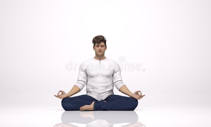 3D rendono: un uomo che si siede sul pavimento, meditante illustrazione vettoriale
