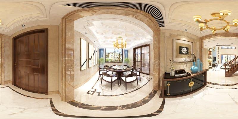 3d rendono 360 vivere e della sala da pranzo di gradi illustrazione vettoriale
