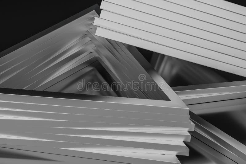 3d rendu, cadre en métal de triangle, fond industriel illustration stock