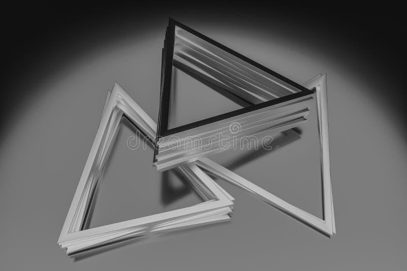 3d rendu, cadre en métal de triangle, fond industriel illustration de vecteur