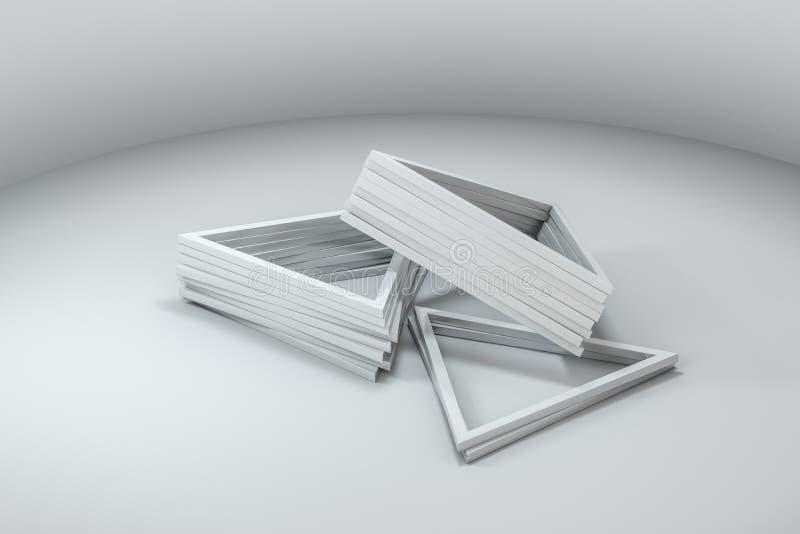 3d rendu, cadre en métal de triangle, fond industriel illustration libre de droits