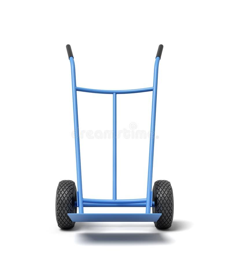 3d rendu de camion de main bleu, position de position, d'isolement sur le fond blanc illustration libre de droits