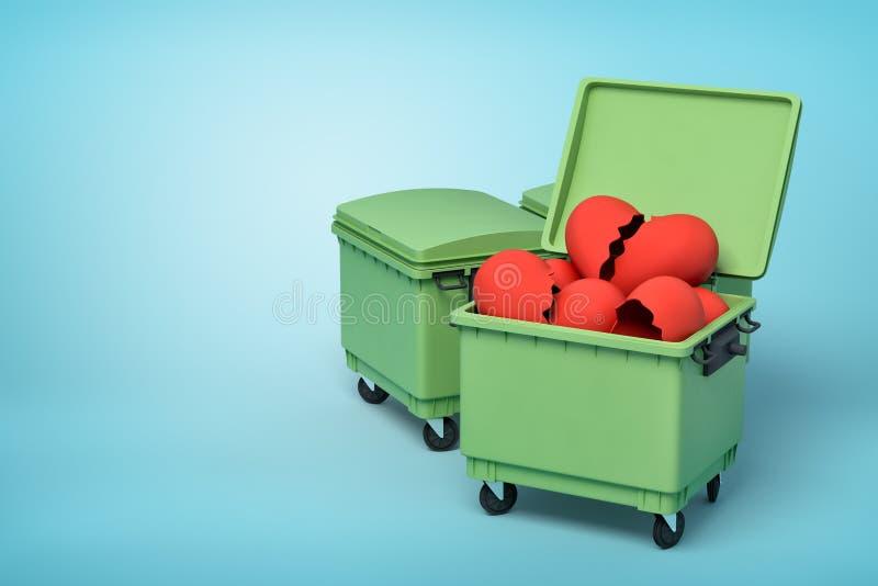 3d rendu de deux poubelles vertes, bo?te avant ouverte et pleine des coeurs cass?s de valentine, sur le fond bleu-clair illustration stock