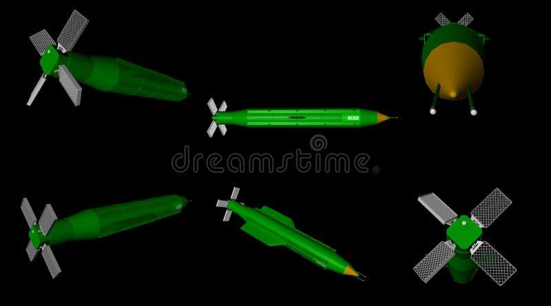 3D rendu de différentes vues de jet d'air massif d'artillerie - MOAB - bombe illustration libre de droits