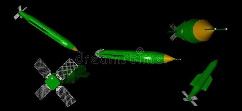 3D rendu de différentes vues de jet d'air massif d'artillerie - MOAB - bombe illustration stock