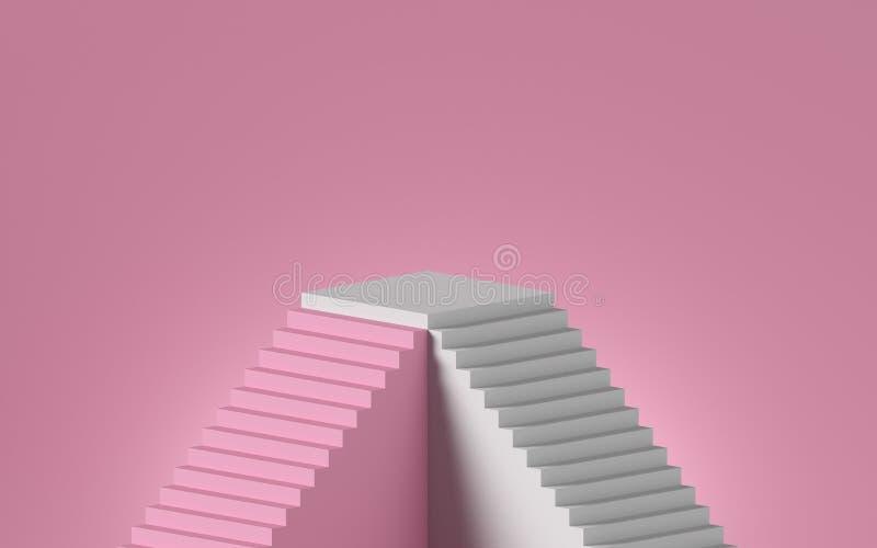 3d rendu de l'escalier blanc isolé sur fond rose Plateau vierge, guéridon, présentoir Concept minimal illustration de vecteur