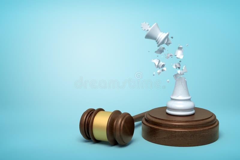 3d rendu de roi blanc cassé d'échecs, ses miettes en air, se tenant sur retentir le bloc avec le marteau à coté sur bleu-clair illustration de vecteur