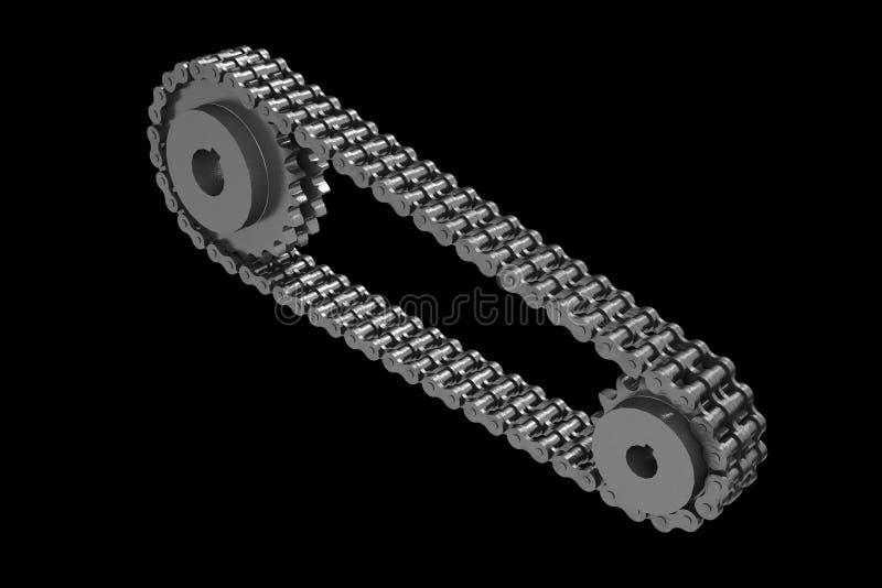 3D a rendu des pignons liés à une chaîne fermée illustration libre de droits