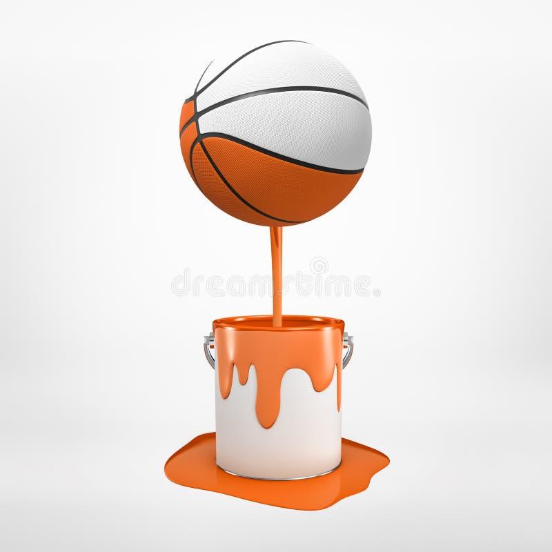 3d rendu du basket-ball de couleur moitié qui est plongé en peinture orange et flotte en air, égoutture de peinture vers le bas image libre de droits