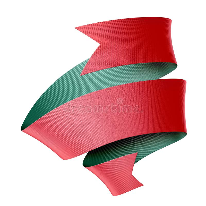 3d rendu du ruban vert rouge isolé sur fond blanc, élément de conception, image clipart festive illustration stock