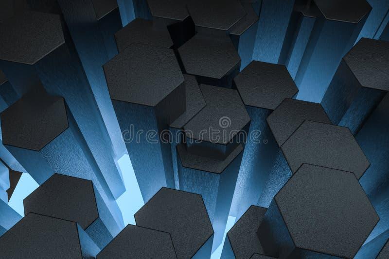 3d rendu, fond hexagonal foncé, fond de la science fiction illustration de vecteur