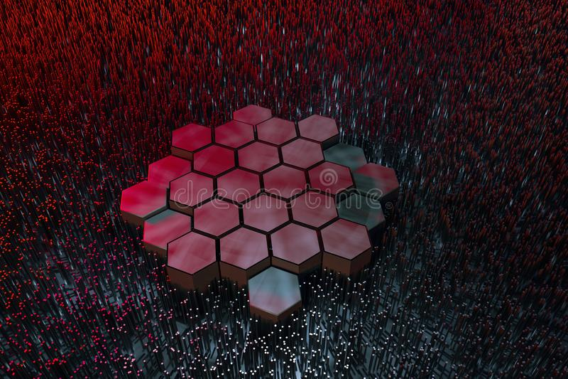 3d rendu, fond hexagonal fonc?, fond de la science fiction illustration libre de droits