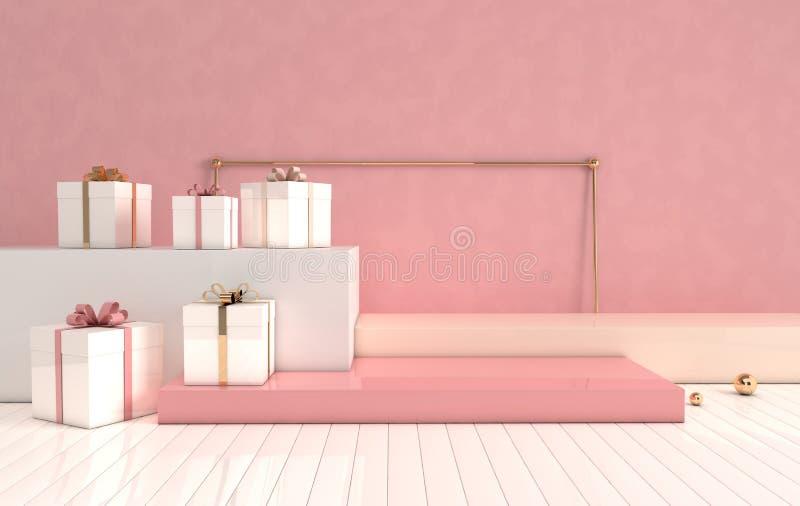 3d a rendu intérieur avec les formes géométriques, le podium sur le plancher et le boîte-cadeau ?tablissez des plates-formes pour illustration de vecteur