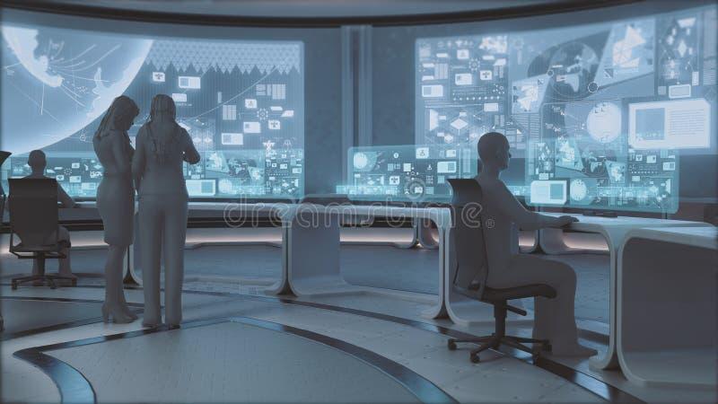 3D rendu, intérieur moderne et futuriste de centre de commande avec des personnes images stock
