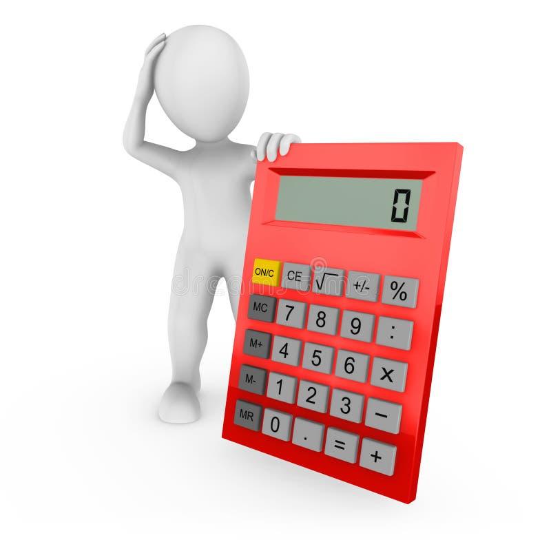 3d a rendu l'humain blanc avec la grande calculatrice rouge illustration libre de droits