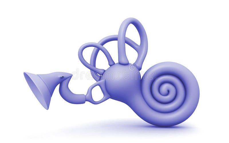 3d a rendu la cochlée d'oreille interne sur le fond blanc illustration libre de droits
