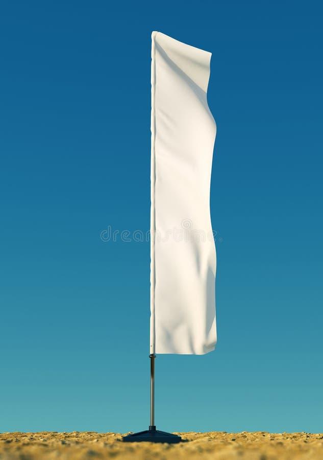 3d a rendu le calibre vide de maquette des drapeaux de plage vides blancs sur un fond clair de ciel drapeaux pour des événements, illustration libre de droits