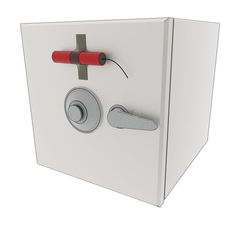 3D a rendu le coffre-fort avec de la dynamite illustration libre de droits