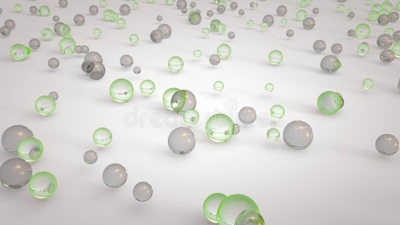 3d a rendu le plan rapproché des boules colorées brillantes vitreuses sur le plancher en verre de miroir blanc illustration de vecteur