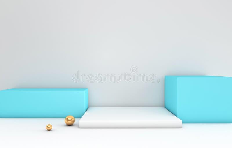 3d a rendu le podium blanc et bleu et goden des sphères dans le roo blanc illustration de vecteur