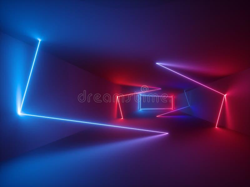 3d rendu, lignes rougeoyantes, lampes au néon, fond psychédélique abstrait, couleurs ultra-violettes et vibrantes illustration libre de droits