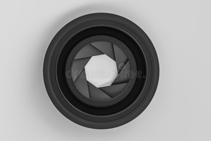 3d rendu, objectif de cam?ra ? un arri?re-plan fonc? de studio illustration stock