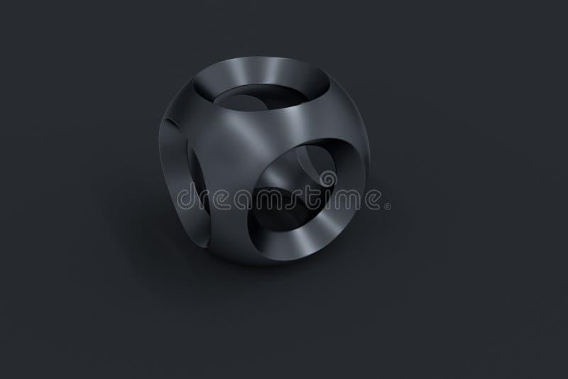 3d rendu, surface noire de sphère, produit industriel de haute précision illustration stock