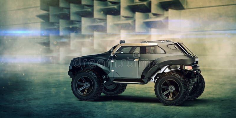 3D rendu - voiture tous terrains de concept générique illustration libre de droits
