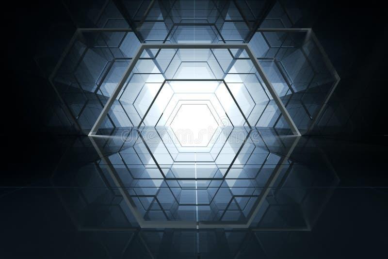 3d representación, canal de la reflexión de espejo, fondo futurista libre illustration