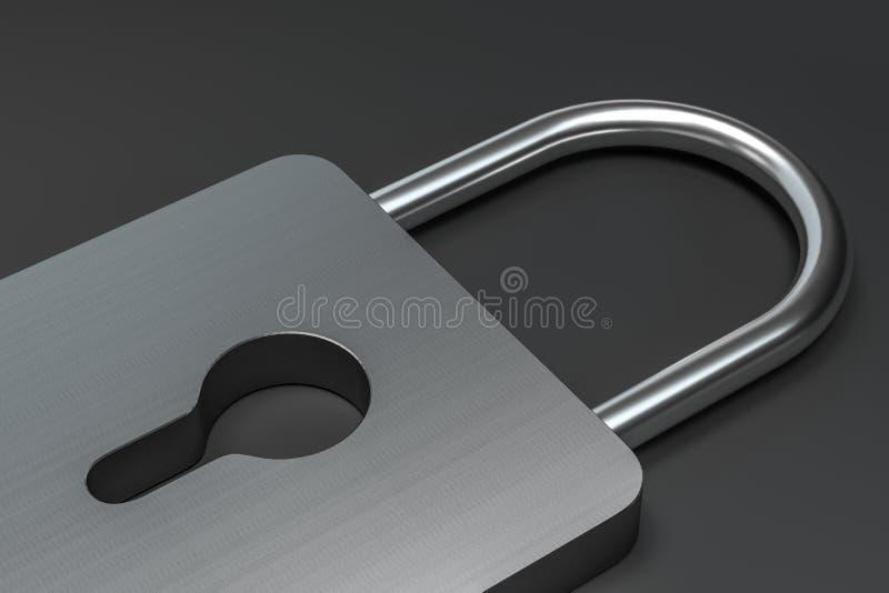 3d representación, cerradura del metal con el fondo digital del concepto ilustración del vector
