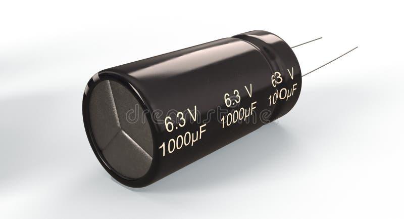 3D representación - condensador electrolítico foto de archivo