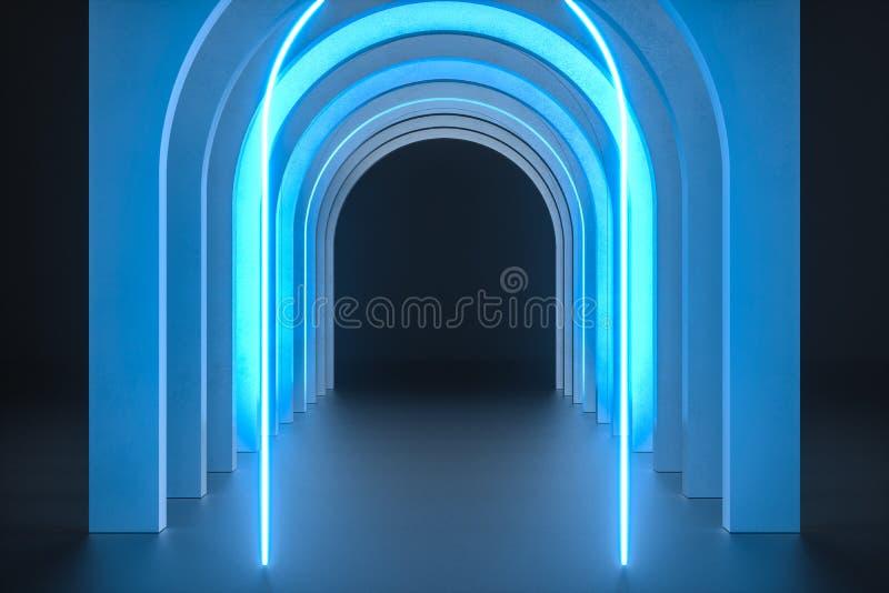 3d representación, construcción del túnel de la roca del polvo, fondo misterioso ilustración del vector