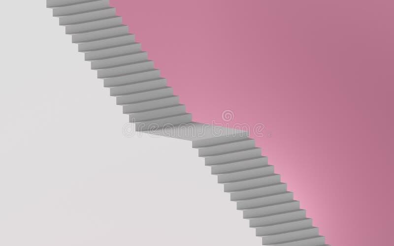 3d representación de la escalera blanca aislada en fondo rosa, concepto mínimo Elementos de diseño arquitectónico stock de ilustración