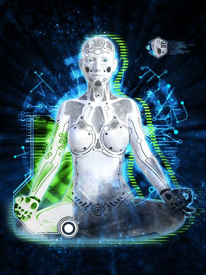 3D representación del robot femenino que medita, concepto de la tecnología ilustración del vector