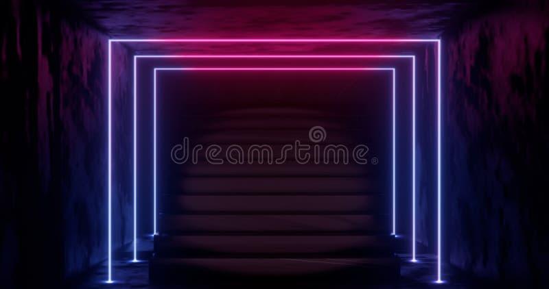 3d representación, fondo de neón abstracto, luz que brilla intensamente azul del rosa, escalera en sitio oscuro libre illustration