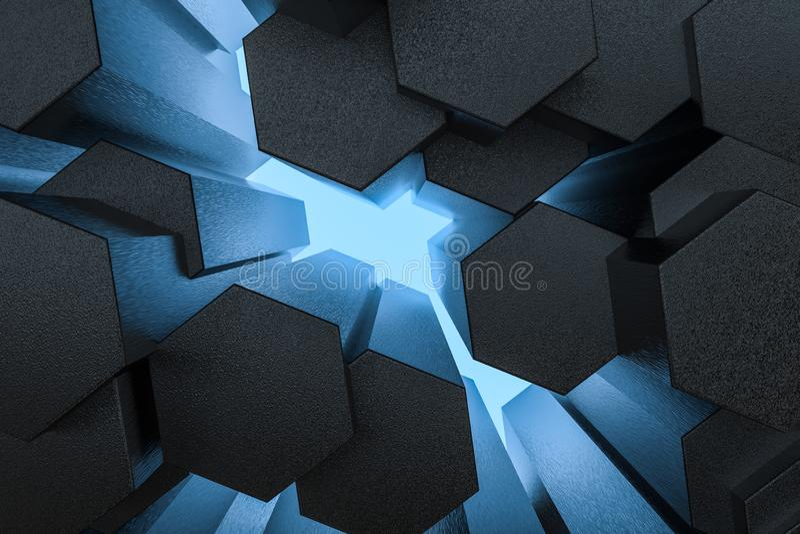 3d representación, fondo hexagonal oscuro, fondo de la ciencia ficción ilustración del vector